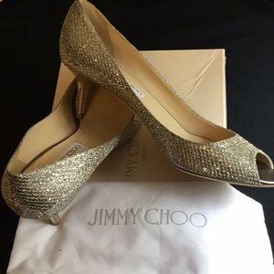 Jimmy Choo Isabel PeepToe Glitter Pump Worn Once